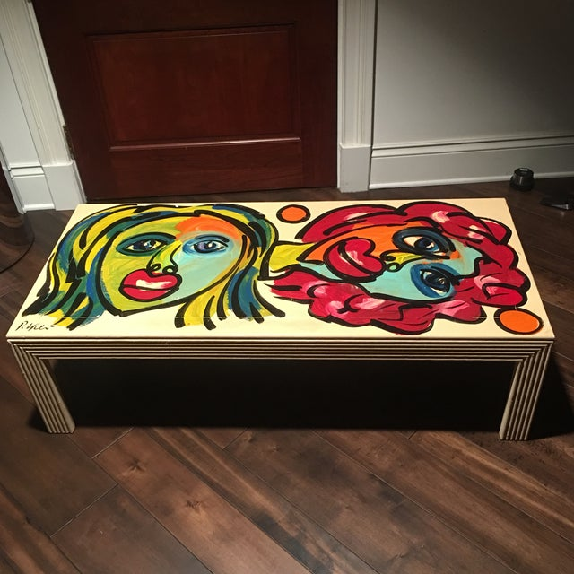 1970s Peter Keil Hand Painted Abstract Coffee Table For Sale - Image 13 of 13