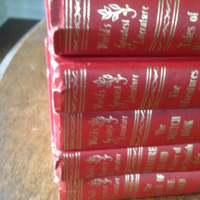 Mid-Century Decorative Red & Gold Classic Books - Set of 5 - Image 6 of 11
