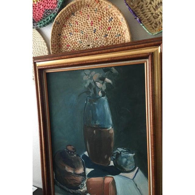 Blue Vintage Dark Blue Still Life Framed Painting For Sale - Image 8 of 10