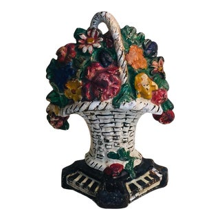 Antique Cast Iron Hand Painted Flower Pot Door Stop For Sale