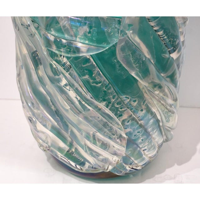 Italian Modern Iridescent Emerald Green Murano Glass Sculpture Vases - a Pair For Sale In New York - Image 6 of 12