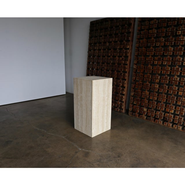 Late 20th Century Late 20th Century Tall Travertine Pedestal For Sale - Image 5 of 6