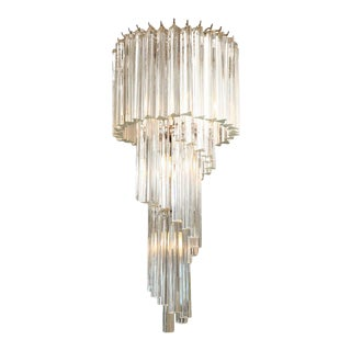 Italian Murano Spiral Crystal Glass Prism Chandelier by Venini