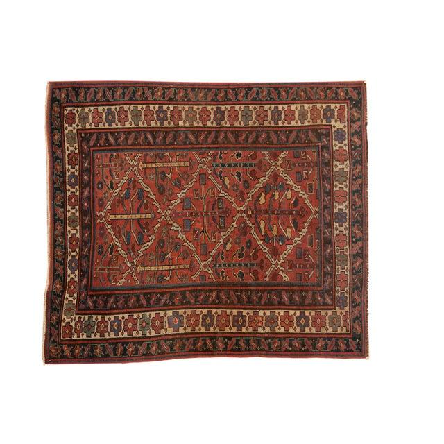 "Vintage Kurdish Square Carpet - 5'5"" X 6'2"" For Sale - Image 12 of 12"