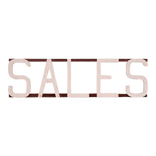 1950s Red and White 'Sales' Sign For Sale