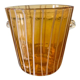 1990s Murano Glass Amber & White Stripped Ice Bucket For Sale
