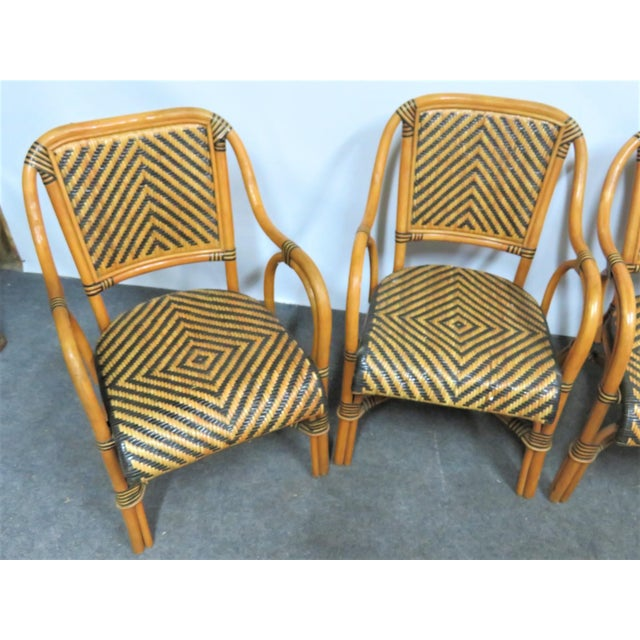 Boho Chic Mid Century Rattan Basket Weave Arm Chairs- Set or 4 For Sale - Image 3 of 7