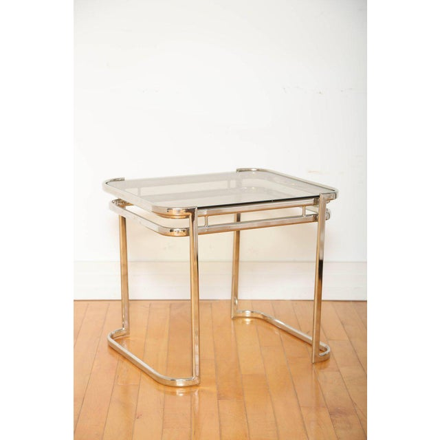 Pair of Italian Mid-Century Modern Chrome Side Tables For Sale - Image 4 of 12