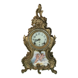 Antique Brass Ansonia Rococo Painted Porcelain Rhinestone Mantle Clock For Sale