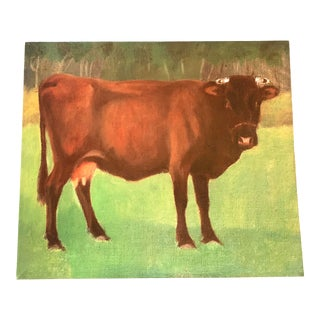 Contemporary Portrait of a Brown Cow Acrylic Painting by Park Hill Farms Collection For Sale