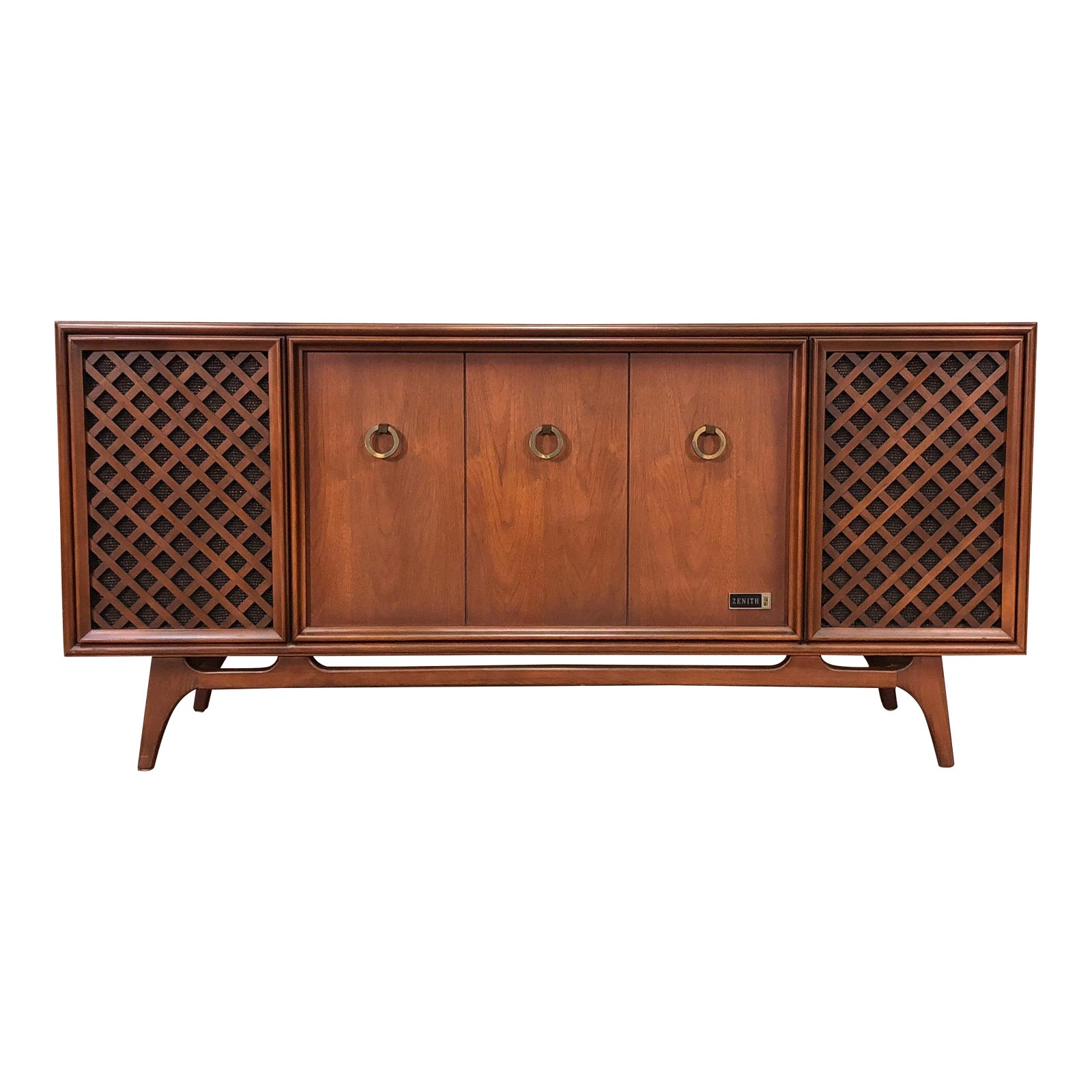 Zenith Mid Century Modern Stereo Console Radio Record Player Tv Stand