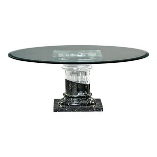 Mid Century Marble and Lucite Coffee Table With Glass Top For Sale