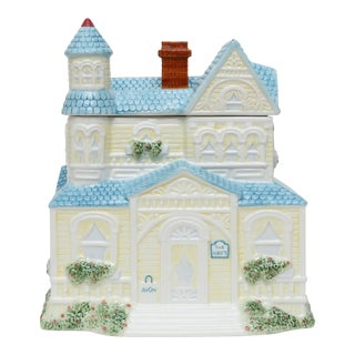 Large Ceramic House Canister Cookie Jar For Sale