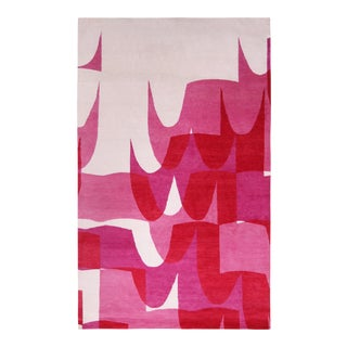 Rug & Kilim's Mid-Century Modern Style Geometric Cream and Pink Wool and Silk Rug For Sale