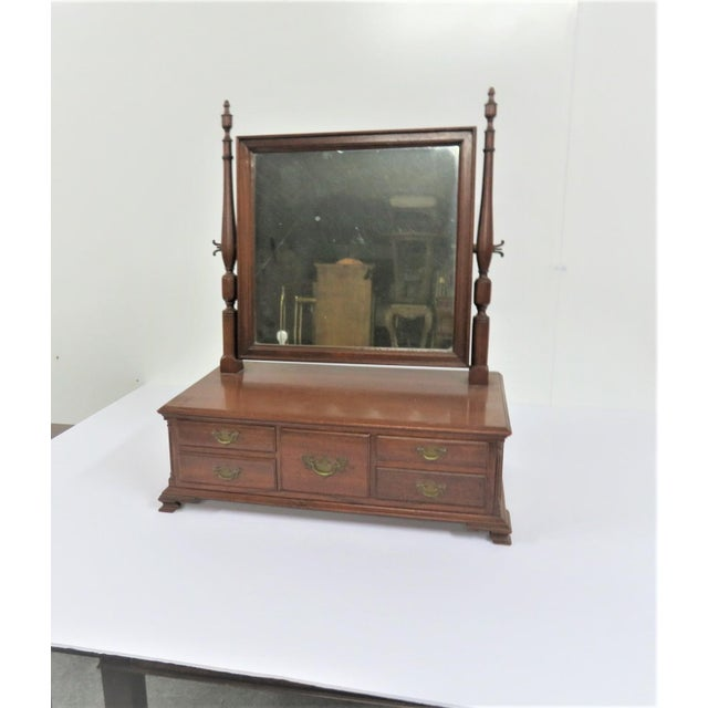Chippendale Chippendale Walnut Shaving Mirror For Sale - Image 3 of 8