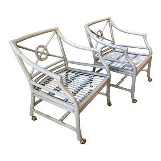 1970s Vintage McGuire Target Back Rattan Game Chairs- A Pair For Sale