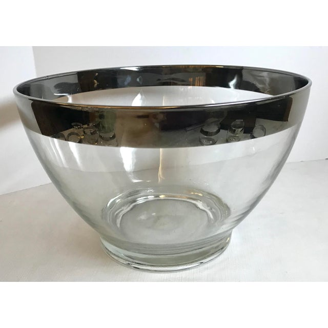 Mid-Century Modern Vintage Dorothy Thorpe Glass Silver Band Punch Bowl Set- 10 Pieces For Sale - Image 3 of 11