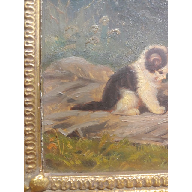 """1930s """"Playful Kittens"""" German Oil Painting, 1930s For Sale - Image 5 of 9"""
