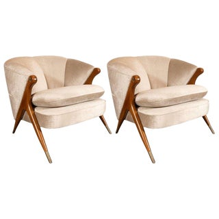 Mid-Century Modern Lounge Chairs in Walnut, Brass and Platinum Velvet by Karpen
