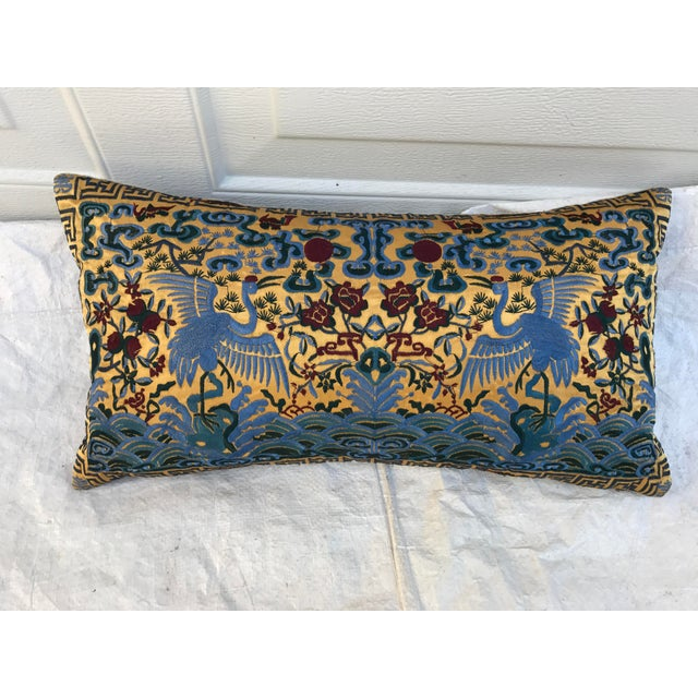 Chinoiserie Gold Silk Crane Boudoir Pillow - Image 3 of 9