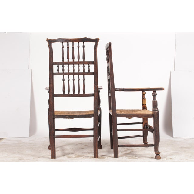 English Traditional Antique Elizabethan-Style Spindle Chairs - A Pair For Sale - Image 3 of 11