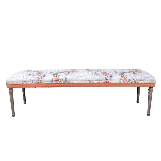 Early 21st Century Vintage Louis XVI Bench in Ferrick Mason's Victorian Mod - Violet Coral Fabric For Sale - Image 5 of 5