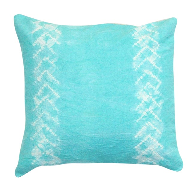 Hand Dyed Nui Shibori Pillow Cover in Aqua - Image 1 of 6