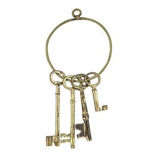 Antique Brass Skeleton Keys on Ring For Sale