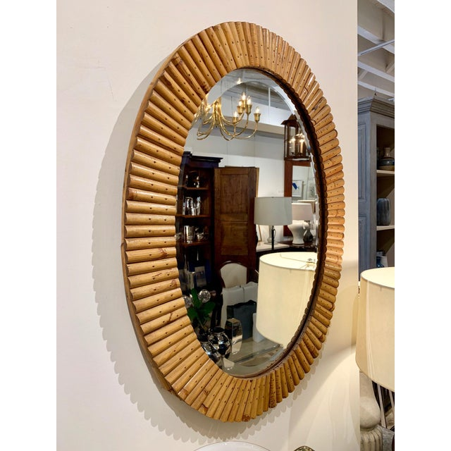 Boho Chic French Mid-Century Pieced Oval Bamboo Mirror For Sale - Image 3 of 5
