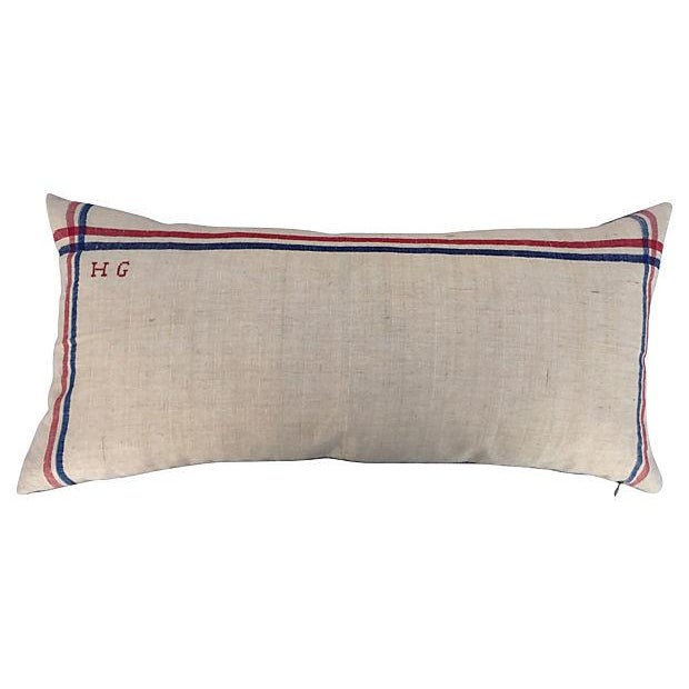 French French Linen Embroidered Pillows - A Pair For Sale - Image 3 of 5