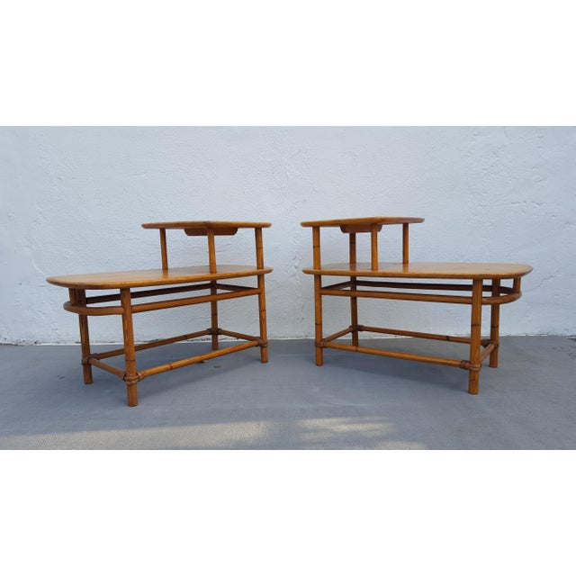 Heywood-Wakefield Heywood - Wakefield Two Tier Side Tables a Pair For Sale - Image 4 of 13