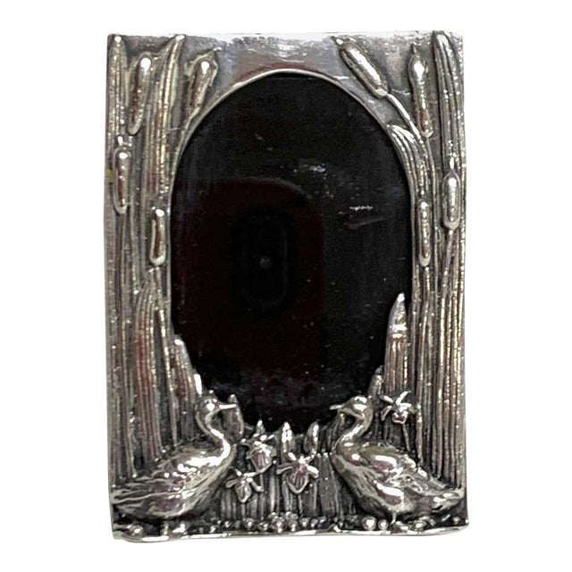 English Sterling Duck Motif Small Frame, Birmingham, 1985 For Sale