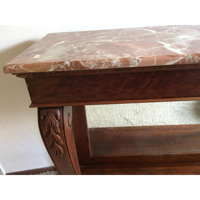 Ethan Allen Marble Top & Mirrored Console Table - Image 5 of 7