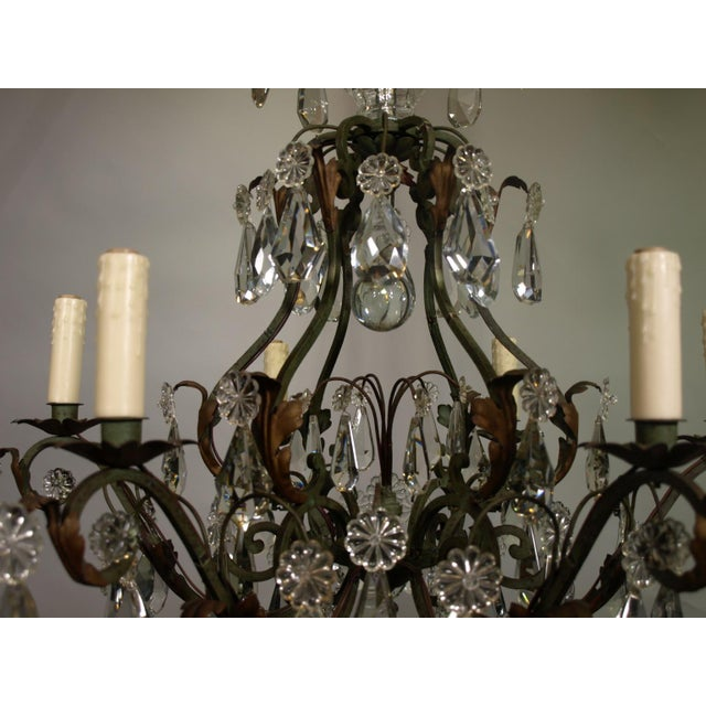 Antique Chandelier of Iron and Crystal - Image 6 of 6