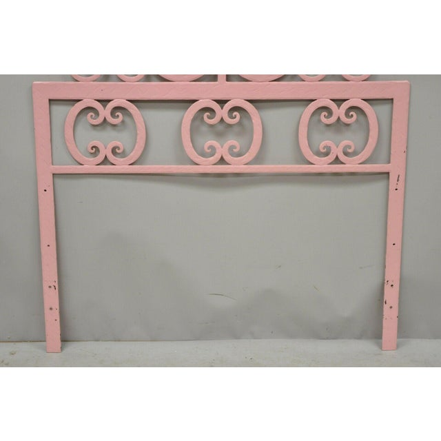 Pink Mid 20th Century Vintage Italian Gothic Iron Hollywood Regency Twin or King Bed Headboard - a Pair For Sale - Image 8 of 13