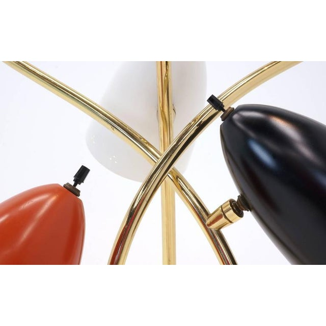 1960s Lightolier Three-Arm Three Cone Brass Table Lamp For Sale - Image 5 of 7