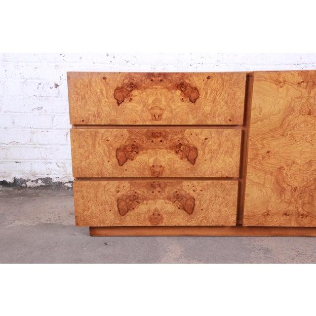 Burlwood Milo Baughman Style Burl Wood Long Dresser or Credenza by Lane For Sale - Image 7 of 13