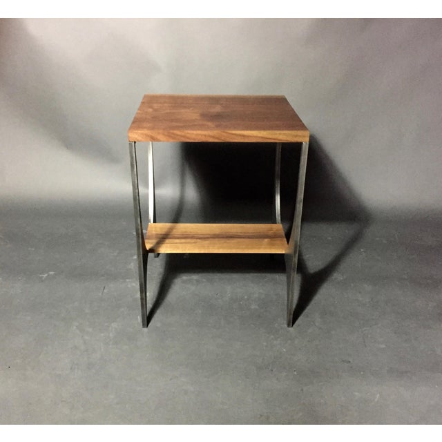 "2010s Richard Velloso ""Curves of Grace"" Black Walnut & Steel Side Tables For Sale - Image 5 of 10"