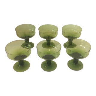 Vintage Dessert Sherbet Green Glasses - Set of 6 For Sale