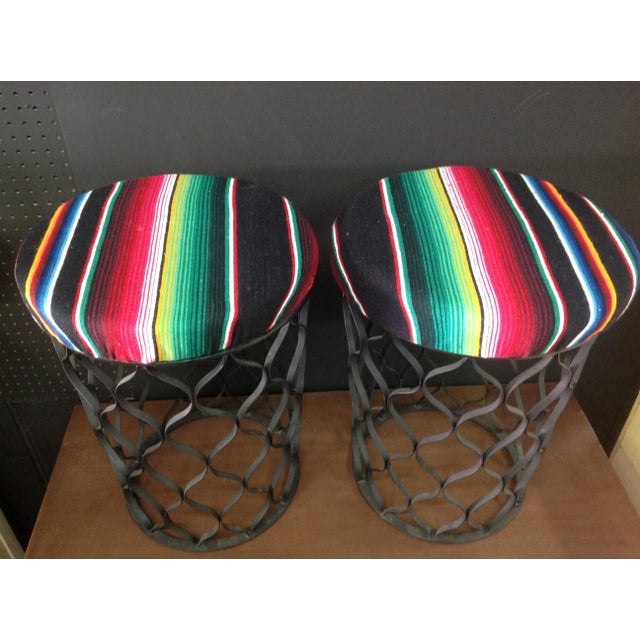 Mid-Century Serape Upholstered Metal Stools - A Pair - Image 3 of 4