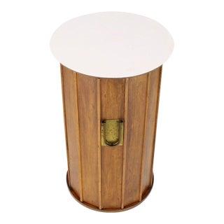 1970s Mid-Century Modern Round Cylinder Shape Pedestal Bar Cabinet For Sale