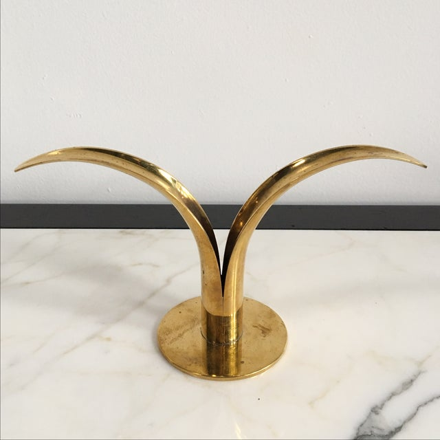 Swedish Brass Candle Holders - A Pair - Image 3 of 4