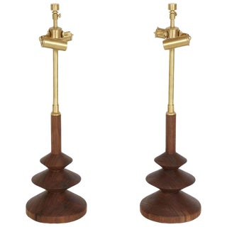 Pair of Hoover Turned Walnut Table Lamp For Sale