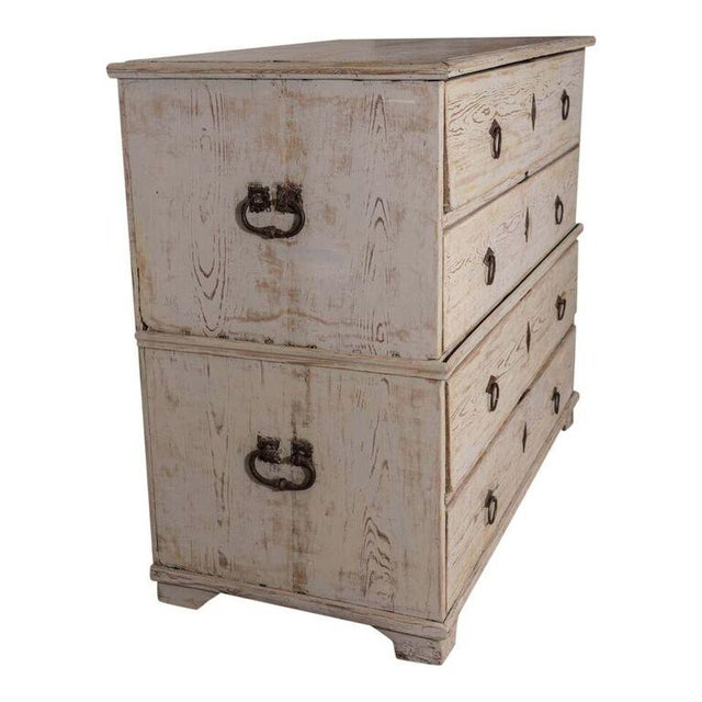 19th century painted Swedish chest-on-chest, with four drawers.