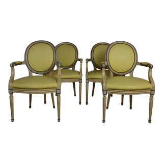 Leather Louis XVI Dining Chairs - Set of 4 For Sale
