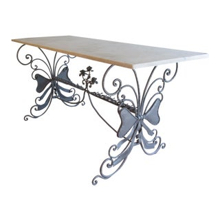 Antique French Garden Console Table With Marble Top For Sale