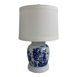Blue and White Ginger Jar Lamp For Sale