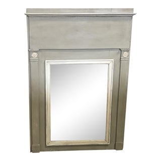 French Antique Trumeau Mirror in Gray and White For Sale