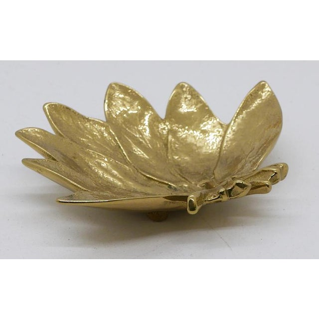 """Brass """"Sage"""" Leaf shaped Dish. Made by Virginia Metalcrafters. On the bottom is Copyright 1950, the numbers 3-49, the name..."""