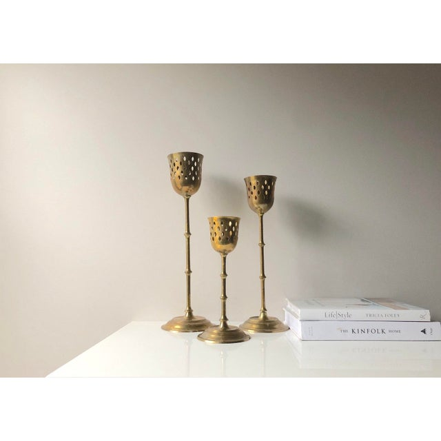 Set of Three Tall Brass Candle Holder Set For Sale - Image 4 of 8